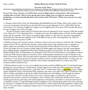 Cherokee Removal and the Trail of Tears Lesson, High School