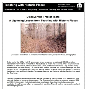 Discover the Trail of Tears Lesson, Teaching with Historic Places, Grades 5-HS