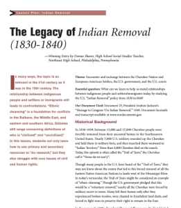 Legacy of Indian Removal, Trail of Tears Lessons & Activities, Grades 8-12