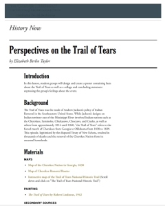 Perspectives on the Trail of Tears Lesson, Grades 5-HS
