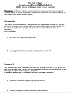 The Trail of Tears Reading and Worksheets, Grades 6-HS