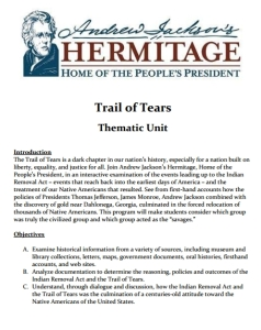 Thematic Unit Trail of Tears, Grades 5-10