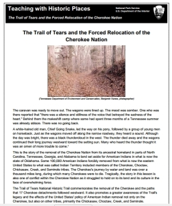 Trail of Tears Cherokee Forced Relocation Lesson, Grades 5-HS