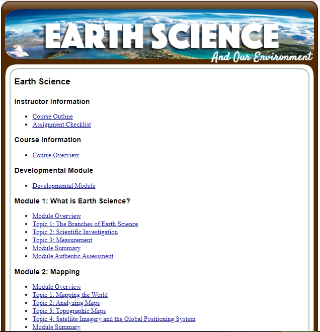 Free Online Earth Science Course