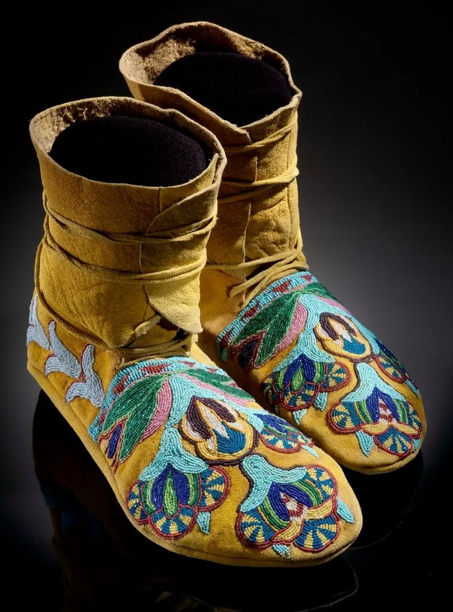 """19th-century Plains moccasins, on display in the exhibition """"Infinity of Nations: Art and History in the Collections of the National Museum of the American Indian."""""""