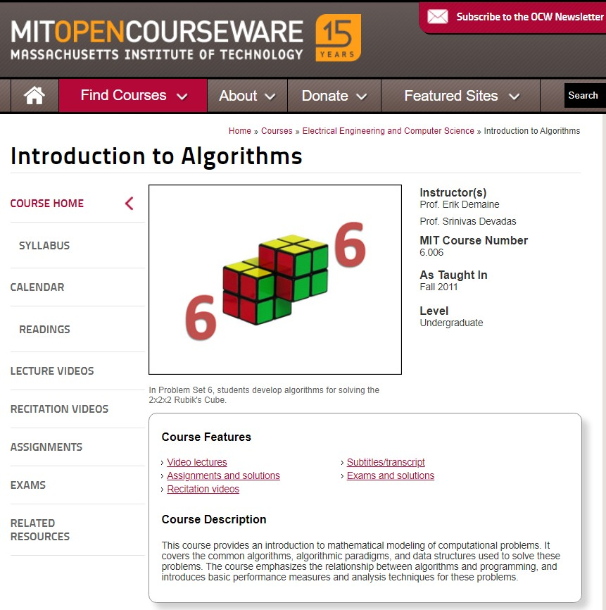 Introduction to Algorithms Course By MIT