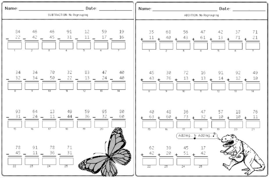 923 Addition, Subtraction, Arithmetic Worksheets for Grades K-2